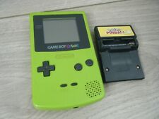 LIME GREEN NINTENDO GAME BOY COLOR WITH BATTERY COVER AND POKEMON PINBALL GAME