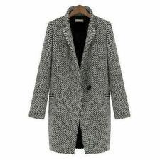 Womens Winter Thicken Coat Wool Lapel Trench Parka Jacket Overcoat Outwear