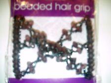 ** BNIP ** BROWN BEADED HAIR GRIP