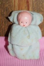 Vintage Small Celluloid Baby in Blue Blanket