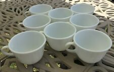 Set of 8 Vintage Pyrex White Milk Glass 8 oz Mugs Coffee Tea Cups handle round