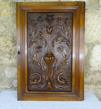 French Antique Superb Carved Gothic Griffin - Roses Walnut Wood Door Panel