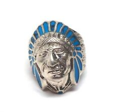 Navajo Handmade Sterling Silver Chief Head Turquoise Inlay Ring Size 8.5
