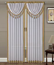 GOLD 1PC Faux Silk 2 Tone Luxury Elegant Rod Pocket Window Curtain Drape 84