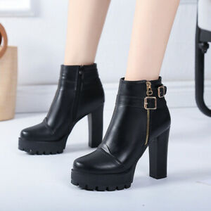 Womens Punk Round Toe Ankle Boots Rock Buckle Strap High Heels Platform Shoes