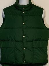 Vintage LL Bean Mens Large Green Goose Down Insulated Packable Snap Puffer Vest