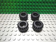 Lego 4 Black 21x12 mm rubber offset tread wide wheel tire vehicle car truck NEW