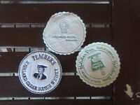 3X DIFFERENT ROUND PAPER VINTAGE  PROMO COASTERS TEARCHERS WHISKEY ETC