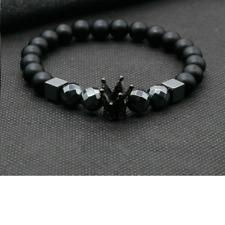 Luxury Royal Crown Bracelet Men Black Stone Spiritual Bead Bracelets Friend Gift