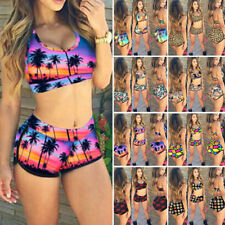 Women High Waisted Bikini Set Retro Floral Bathing Swimwear Swimsuit Boy Shorts