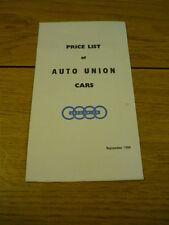 AUTO UN ION 1000, 1000S & 1000SP PRICE LIST  Brochure 1959/60  jm