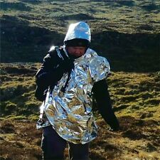 HIGHLANDER EMERGENCY FOIL PONCHO HYPOTHERMIA BLANKET ARMY SURVIVAL HEAT LOSS