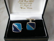 PAIR OF STERLING SILVER & BLUE ENAMEL CUFFLINKS  BRAND NEW IN BOX QUALITY LINKS