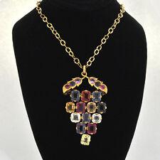 "18k Solid Retro Grapes Motif  Lady's Multi-color Gemstone Pendant Necklace 18"""