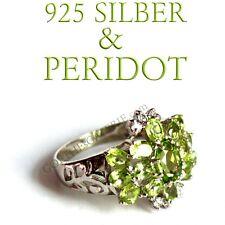 Edler RING 925 NEU Silber mit PERIDOT Damenring funkelnd Cocktailring 21.70ct