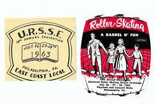 Roller Skating Labels URSSE 1963 Playland & Concord Rinks Philadelphia PA UNUSED