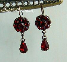 Kenny Ma VICTORIAN Ruby Red Swarovski Crystal Flower Teardrop Antq Gold Earrings
