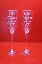 Laser Gravé Flûtes à Champagne Mr & Mrs Mariage Verres Personnalisés Verres 2