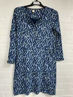 Ex White Stuff Blue Green Printed Pocket Button Tunic Dress Size 12 (OR1.266)