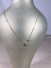 14k yellow gold shining star celestial necklace with diamonds on 14k gold chain