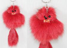 1pc Red Artificial Fox Fur Tail Keychain Bag Tag Charm Handbag Pendant Gifts