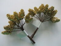 24 x GOLD GLITTER MINI PINE CONES 25mm ON WIRED STEMS CHRISTMAS CRAFT