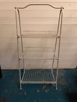 Vintage Folding White Metal Vegetable Rack Kitchen Storage Retro Wire Rack