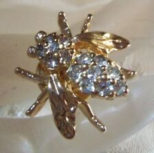 Panetta Rare Gold plated Sparkly Bee Stick pin Vintage dainty