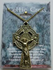 Irish Celtic Cross 2 Sided Necklace Antique Gold Plate St Patricks Day Gift NEW