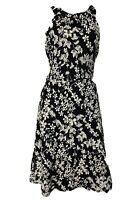 Tommy Hilfiger Navy Blue White Floral Fit & Flare Sleeveless Sundress Size 8 NWT