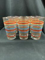 Vintage 6 Fiesta Ware 16 oz. Drinking Glasses, Very Nice primary color stripes