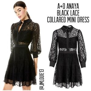 2021 Alice + Olivia Anaya Black Lace Collared Mini Dress $550 Sz 4 Small