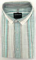 Mens Calvin Klein Regular Fit Casual Dress Shirt, Green/Gray Stripe, Sz 17 34/35