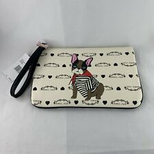 Betsey Johnson French Bulldog Pouch Wristlet Clutch Zip Close