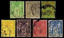 1879-1900 FRANCE #97-101 & 103-04 PEACE & COM - USED - VF - CV $17.90 (ESP#2364)