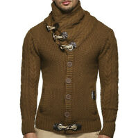 Men's Knitted Jacket Turtleneck Cardigan Winter Pullover Hoodies Casual Sweaters