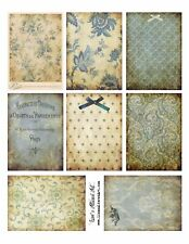 8 Victorian Shades of Blue Background Hang Tags Scrapbooking Paper Crafts (50)