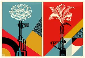 Authentic AK-47 Lotus and AR-15 Lily Art Prints by Shepard Fairey OBEY