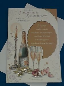 Brother and Sister-in-law anniversary card high quality nice verse