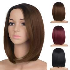 16in Women Short Straight Bob Natural Full Wigs Ladies Natural Black Hair Wig UK