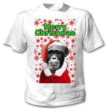 Monkey merry Christmas snowflakes - COTTON WHITE TSHIRT