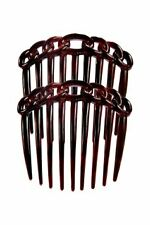 Caravan French 9 Tooth Rope Design Back Comb Tortoise Shell Pair, .65 Ounce