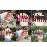 24Pcs Fashion False Nails Acrylic Gel Full French Fake Nails Art   T  NMUS
