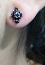 14k Solid Yellow Gold Diamond Shape Stud Earrings,Natural Sapphire 1.2TCW