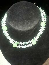 Beautiful Vtg Miriam Haskell Glass 2 Strands Silver Tone clasp Choker necklace