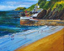 Firmado Cornish impresiones artísticas, el banjo y Looe Island, sur Cornwall 10x8 pulgadas