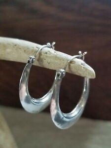 Sterling Silver 925 Knife Edge Hoop Earrings