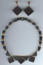CORTES VINTAGE MEXICO STERLING MODERNIST RAISED STRIPES NECKLACE & EARRINGS SET