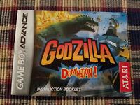 Godzilla Domination - Authentic - Nintendo Game Boy Advance - GBA - Manual Only!