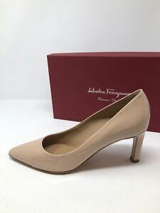 $620 New Salvatore Ferragamo Womens Beige Heels Ladies Shoes Size 7.5 C 37.5 C